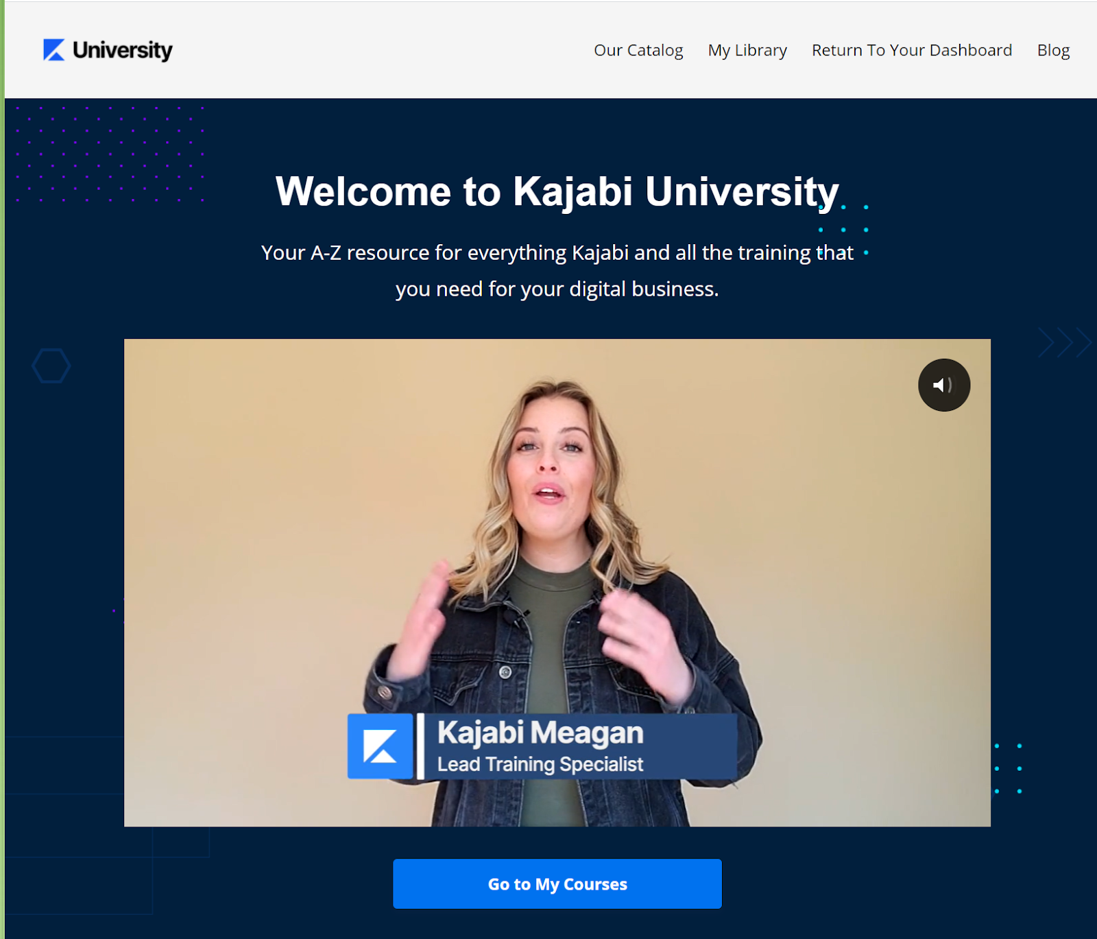 Screenshot of Kajabi  University with a paused video of a young woman speaking