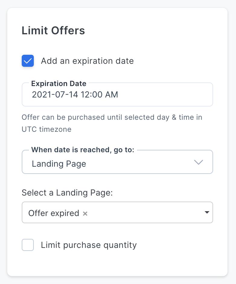 Screenshot of the Kajabi app with the offer expiration date UI