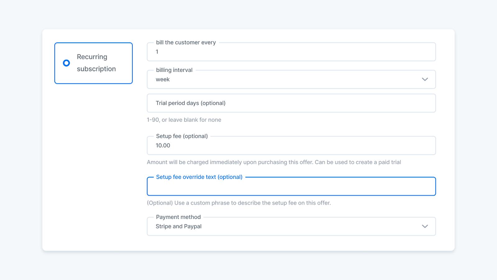 Screenshot of the billing options including setup fee in the Kajabi app