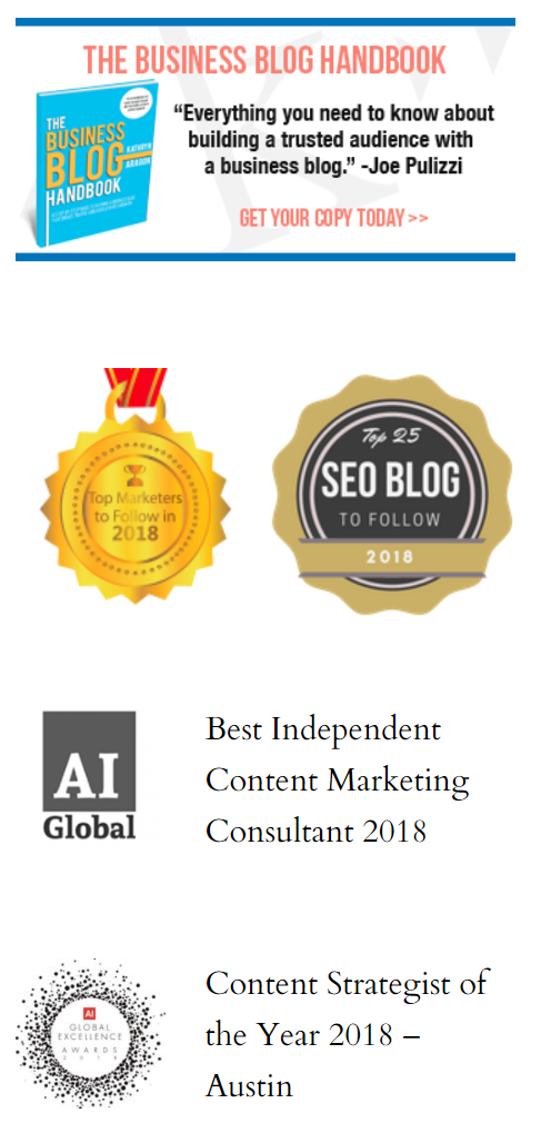 Screenshot of a website with a blog handbook and seals of four awards