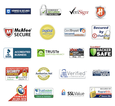 Screenshot of security seals like McAfee, BBB, PayPal Verified, and SSL certificates