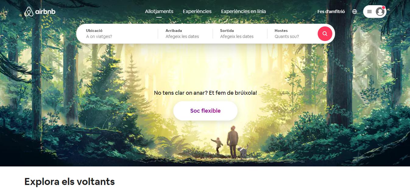 Screenshot of the Airbnb website