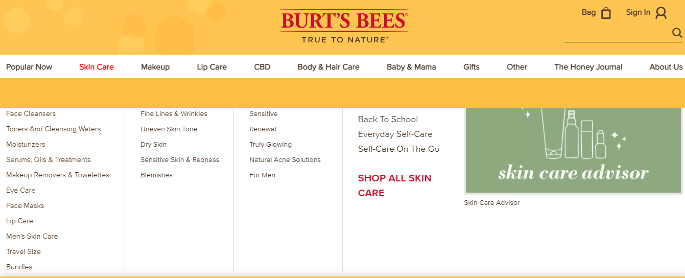 Screenshot of the Burt's Bees website with yellow and white design