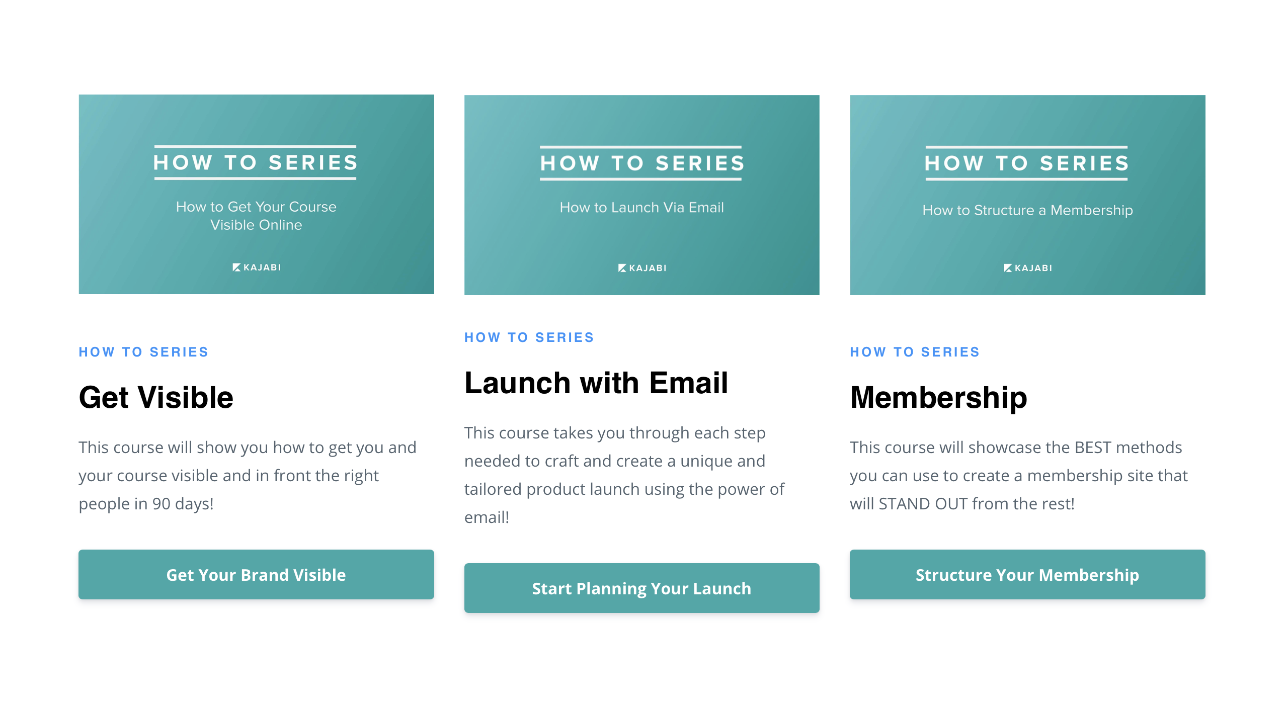 Kajabi University course selection - how to get visible, how to launch with email, and how to structure a membership site