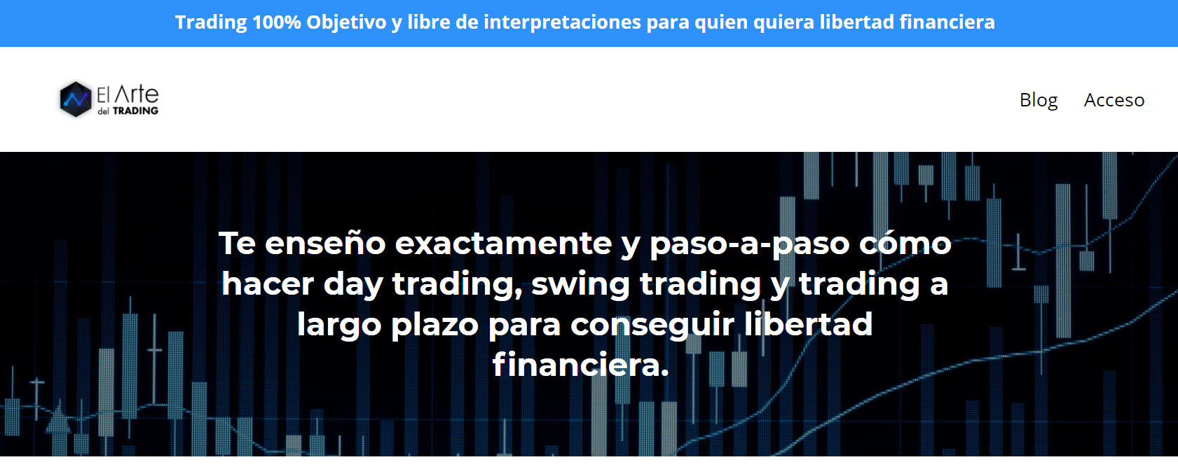 Screenshot of the El Arte del Trading website; in Spanish the copy discusses day trading