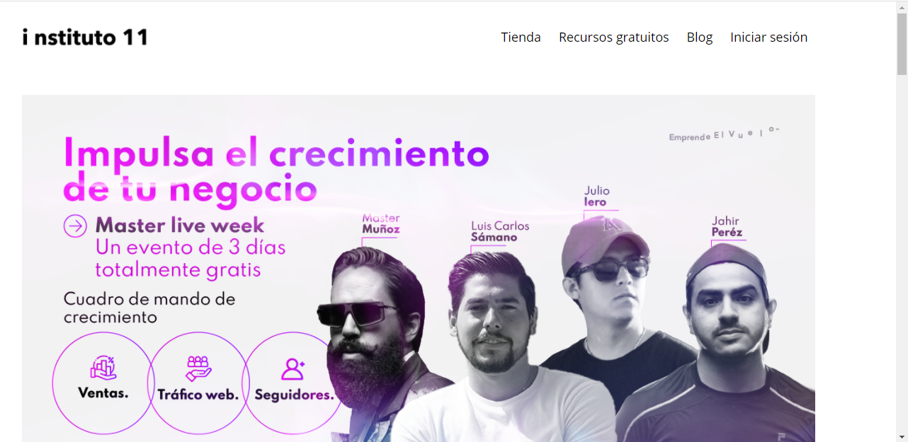 Screenshot of the Instituto 11 website; in Spanish the copy discusses growing a business. It has a photo of four founders.