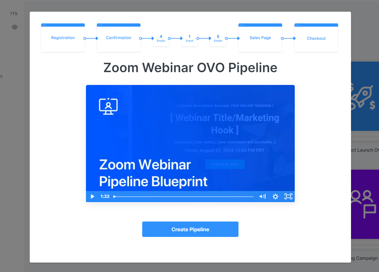 Screenshot of the Kajabi Zoom Webinar offer-value-offer pipeline with four emails, an event, five emails, a sales page, then checkout