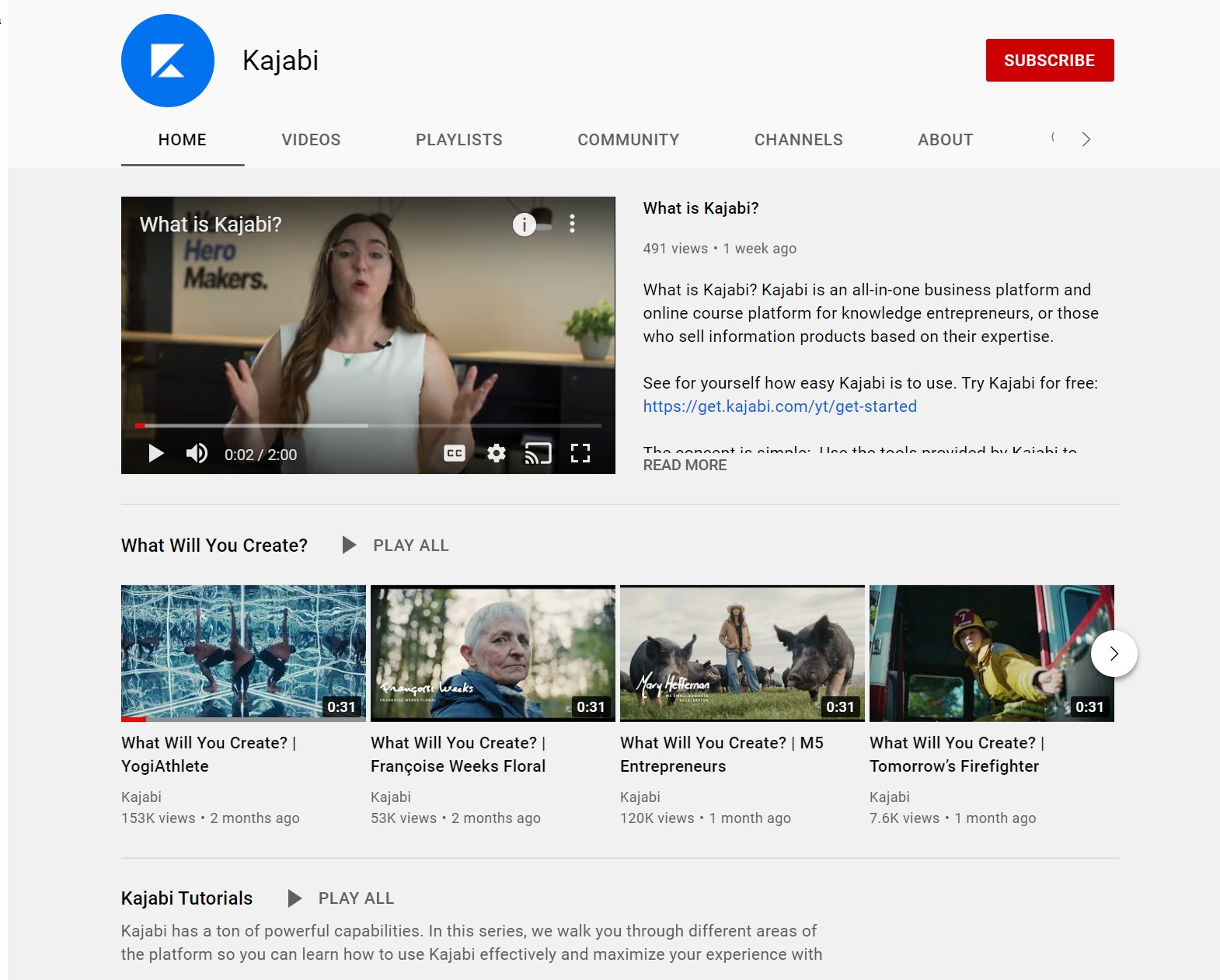 Kajabi YouTube channel showing a What Is Kajabi paused video and the What Will You Create playlist