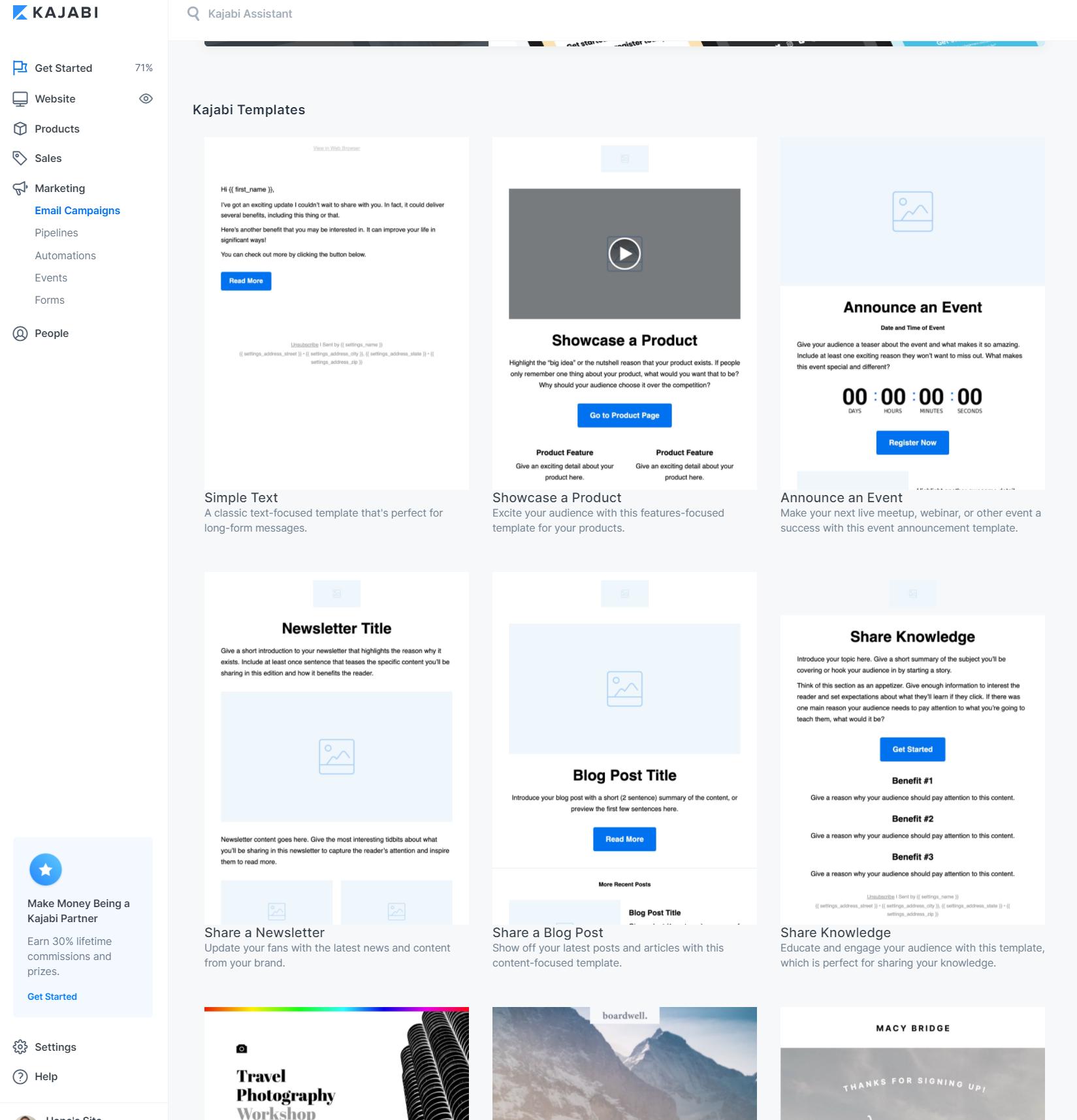 Screenshot of the Kajabi app showing Kajabi email marketing templates