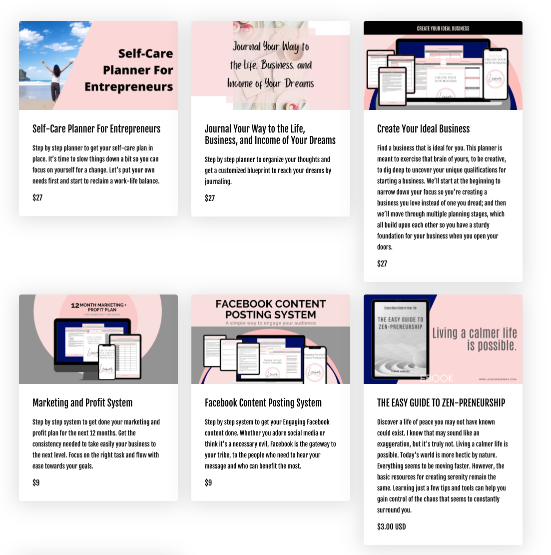 Screenshot of the courses and resources offered by Leonor Herrera with pink, black, and white branding