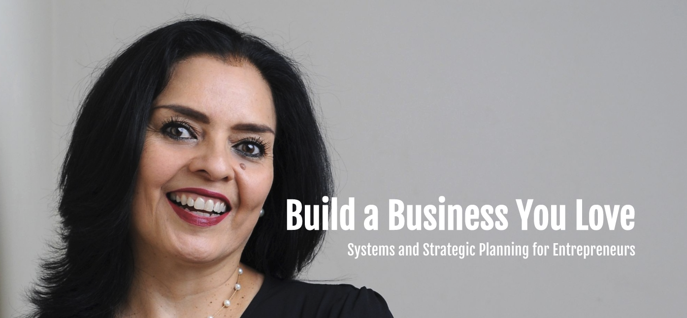 Photo of Leonor Herrera smiling with copy saying Build a Business You Love Systems and Strategic Planning for Entrepreneurs