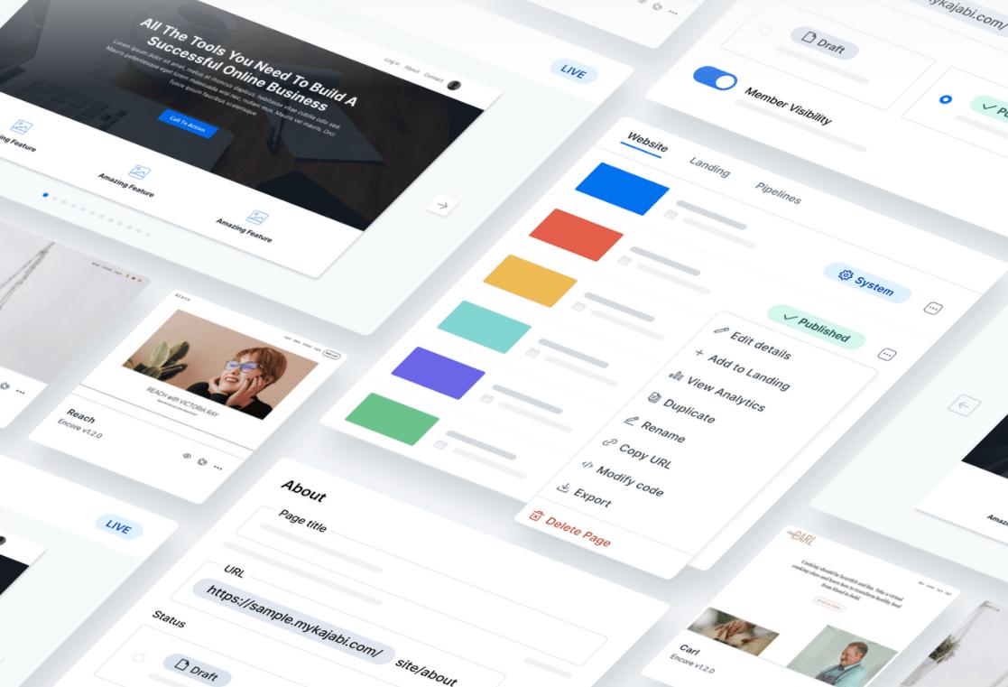 Kajabi Website tab gets a design update and enhances customization