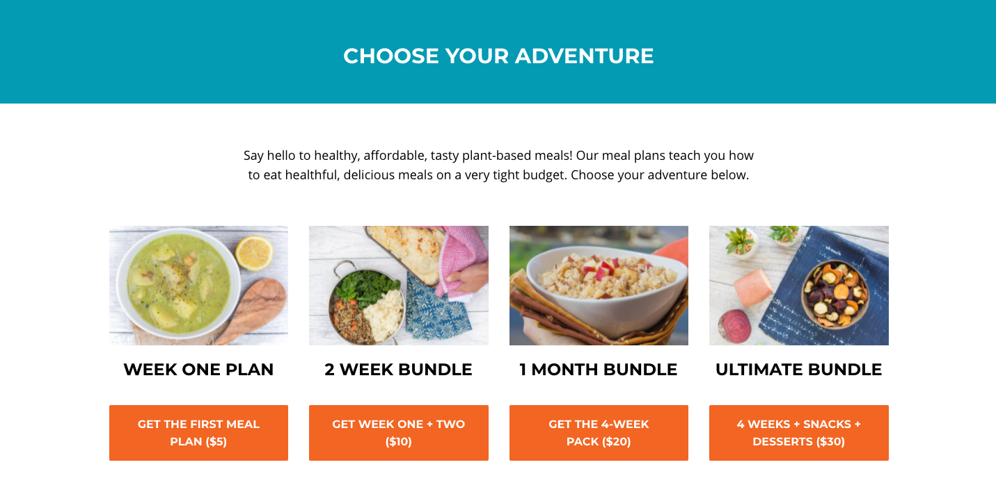 Screenshot from the Plant Based Meal Plan website saying Choose Your Adventure and listing four meal plan bundles with orange CTA buttons