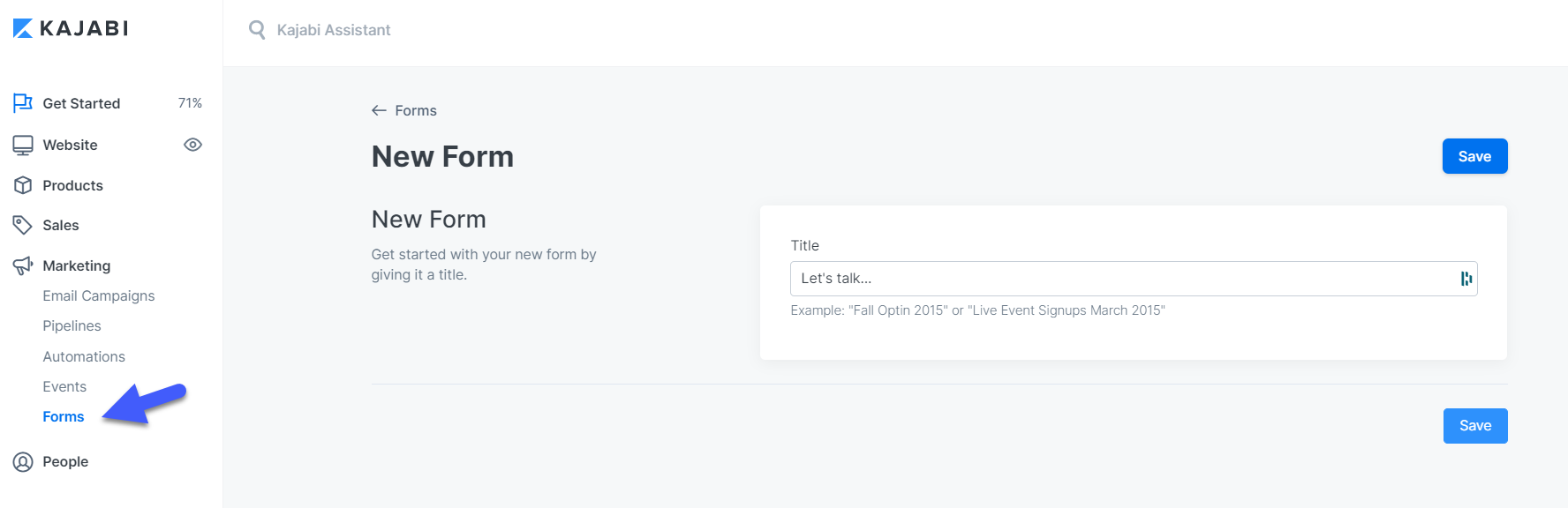 Screenshot of the Kajabi app form builder