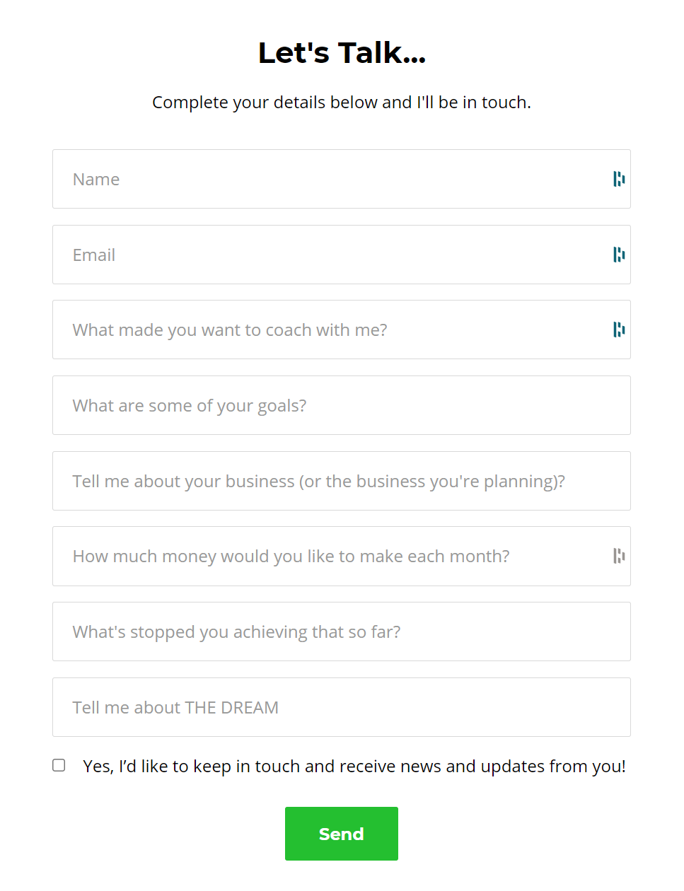 Screenshot of a client intake form with 8 fields diving into the clients' needs and goals