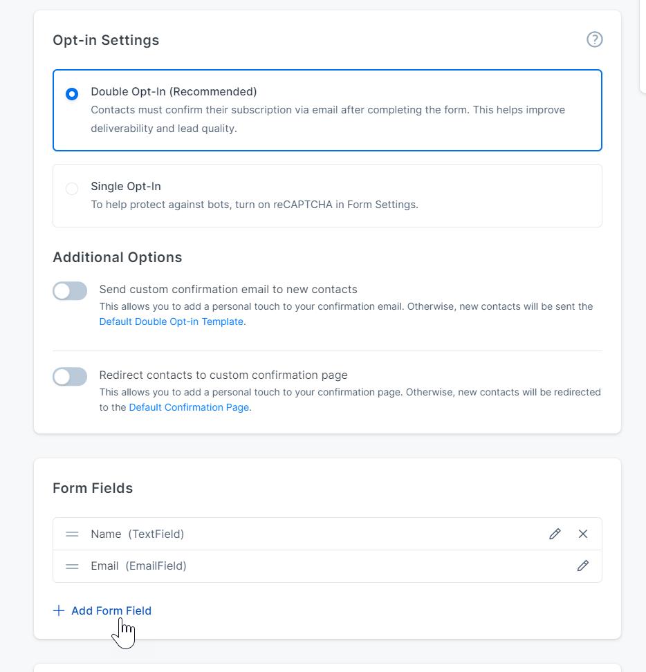 Screenshot of the Kajabi app form settings