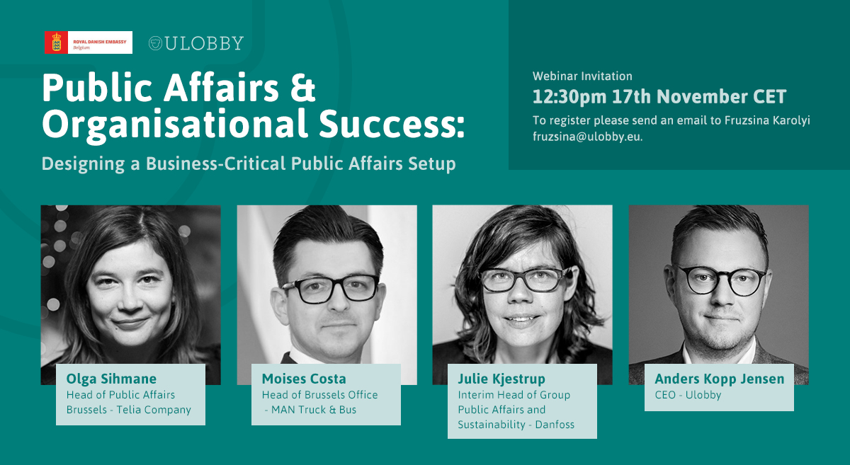 Webinar Invitation: Public Affairs & Organizational Success - Designing a Business-Critical Public Affairs Setup, November 17, 12:30pm CET