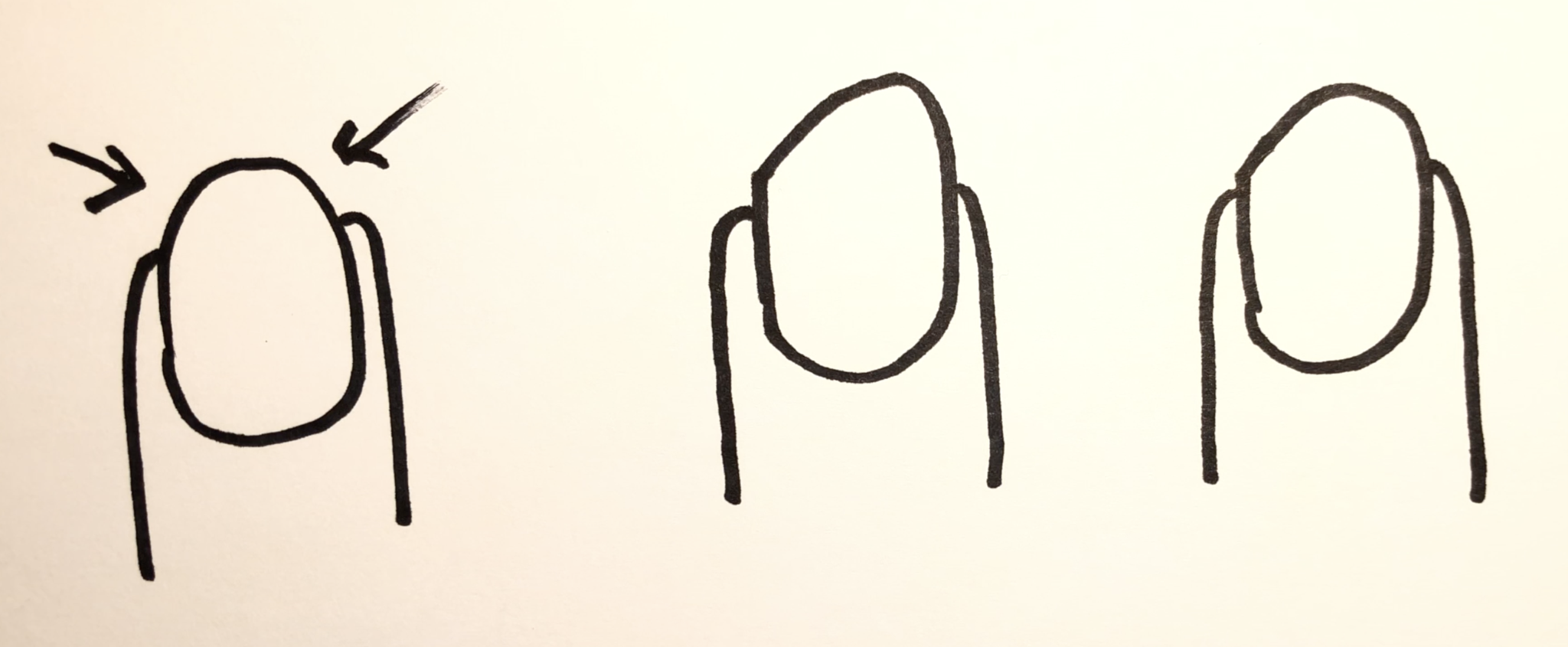 Three nail shapes that are good for playing classical guitar.