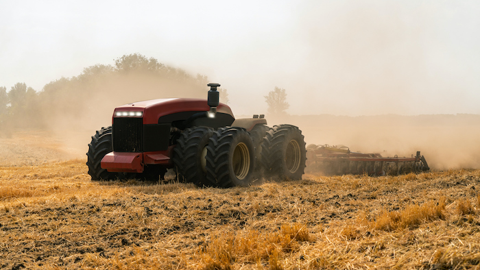 Autonomous tractor in an agricultural field