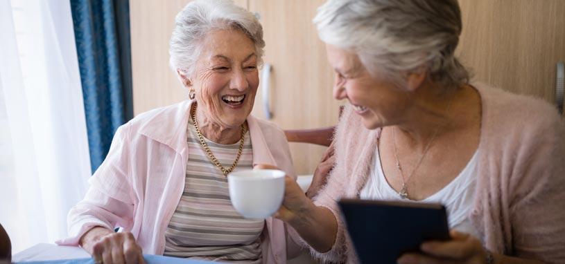 two senior ladies aged care