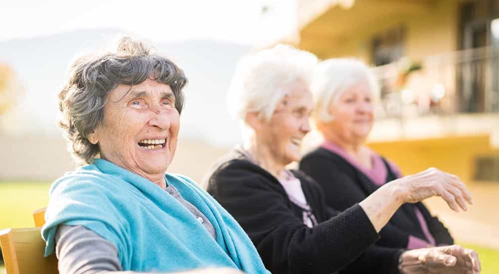 senior women enjoying time outside