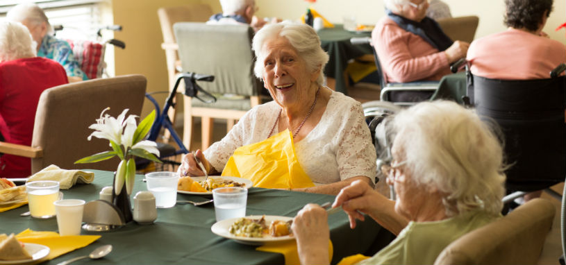 elderly women enjoying a meal