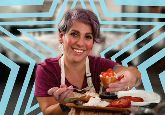 Woman holding cheese plate.