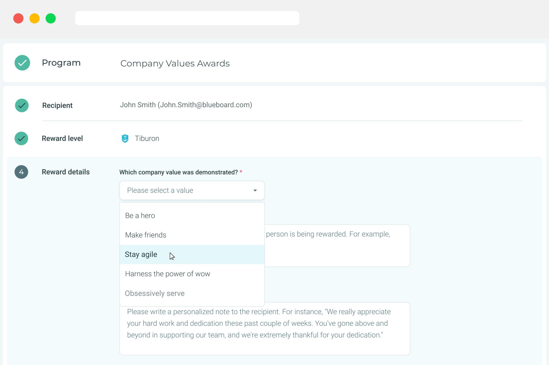 Values Awards platform feature.