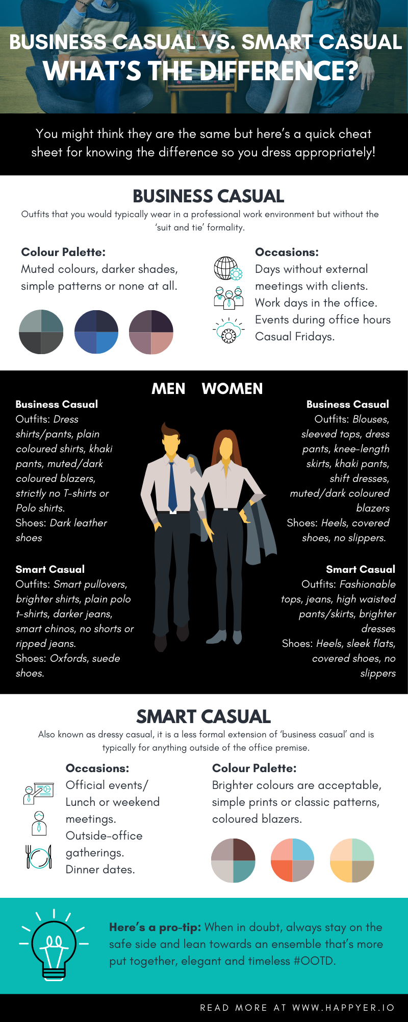 Business Casual vs Smart Casual Infographic