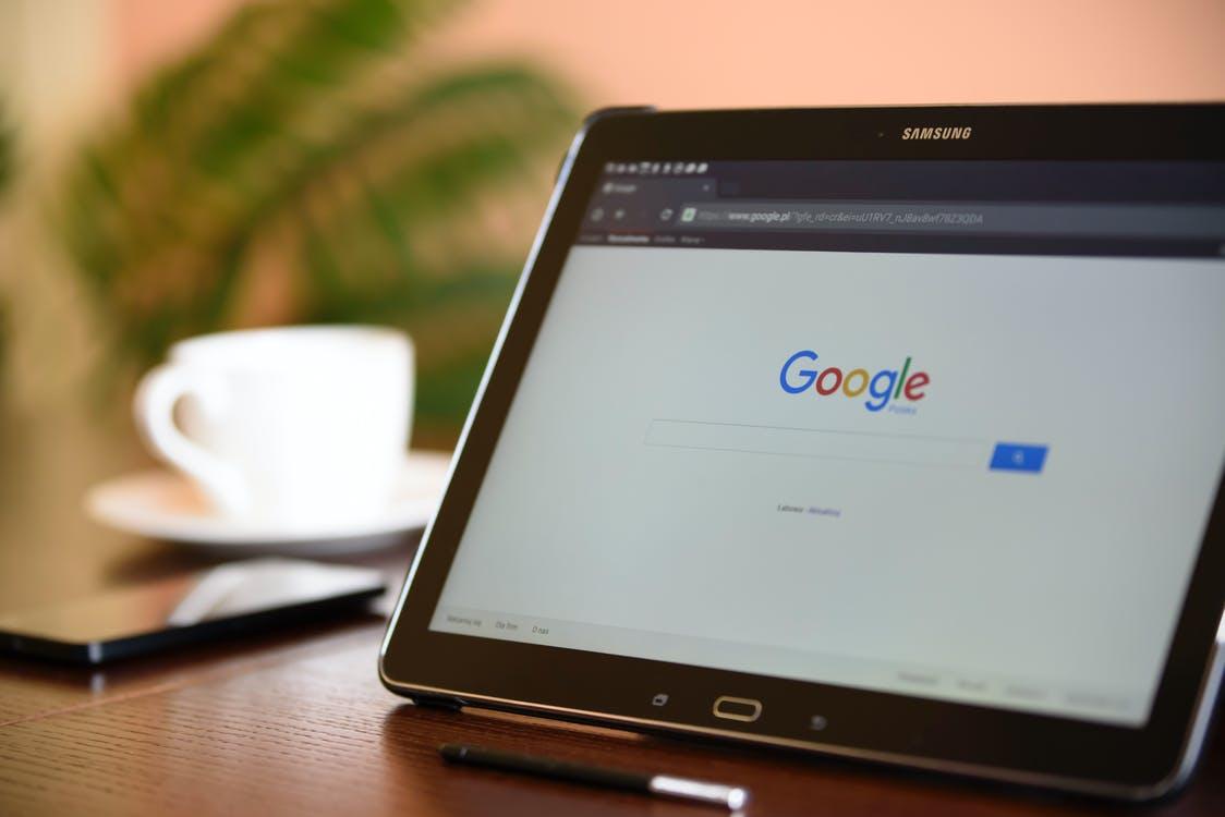 Black Samsung Tablet on Google Page