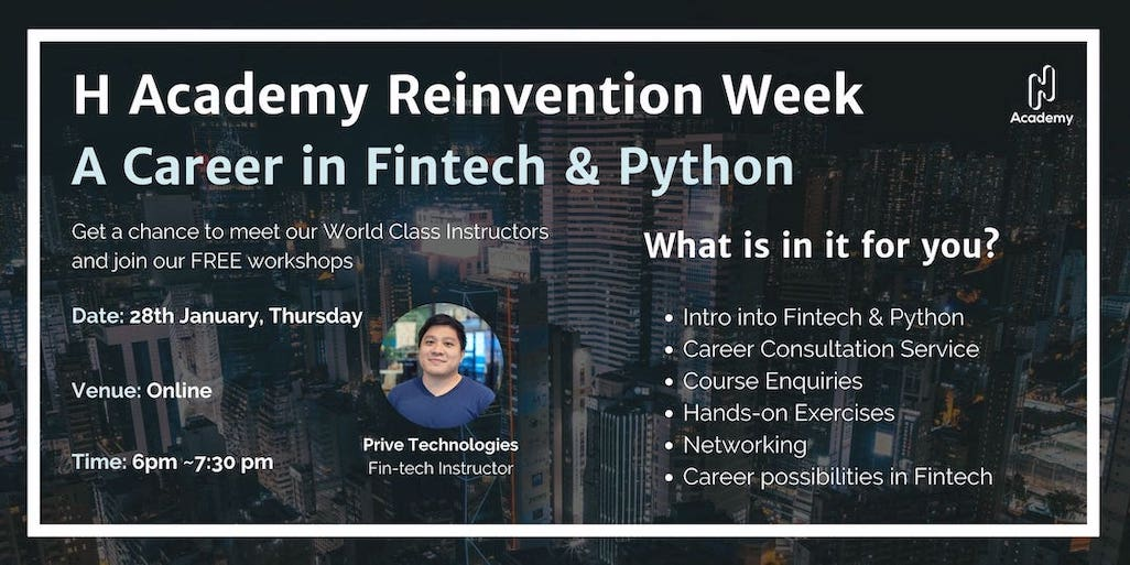 2021 Reinvention Week Day 4: A Career in FinTech & Python (Free)
