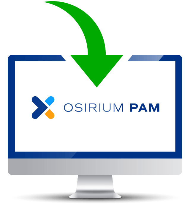 An arrow point down to a monitor with the Osirium PAM logo on screen