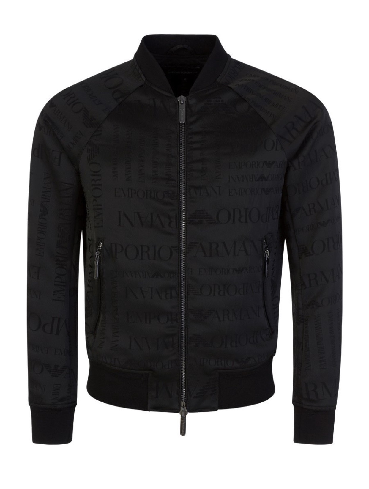 Bomber jacket with jacquard lettering