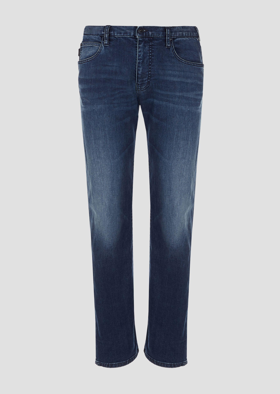 Navy blue five pocket jean
