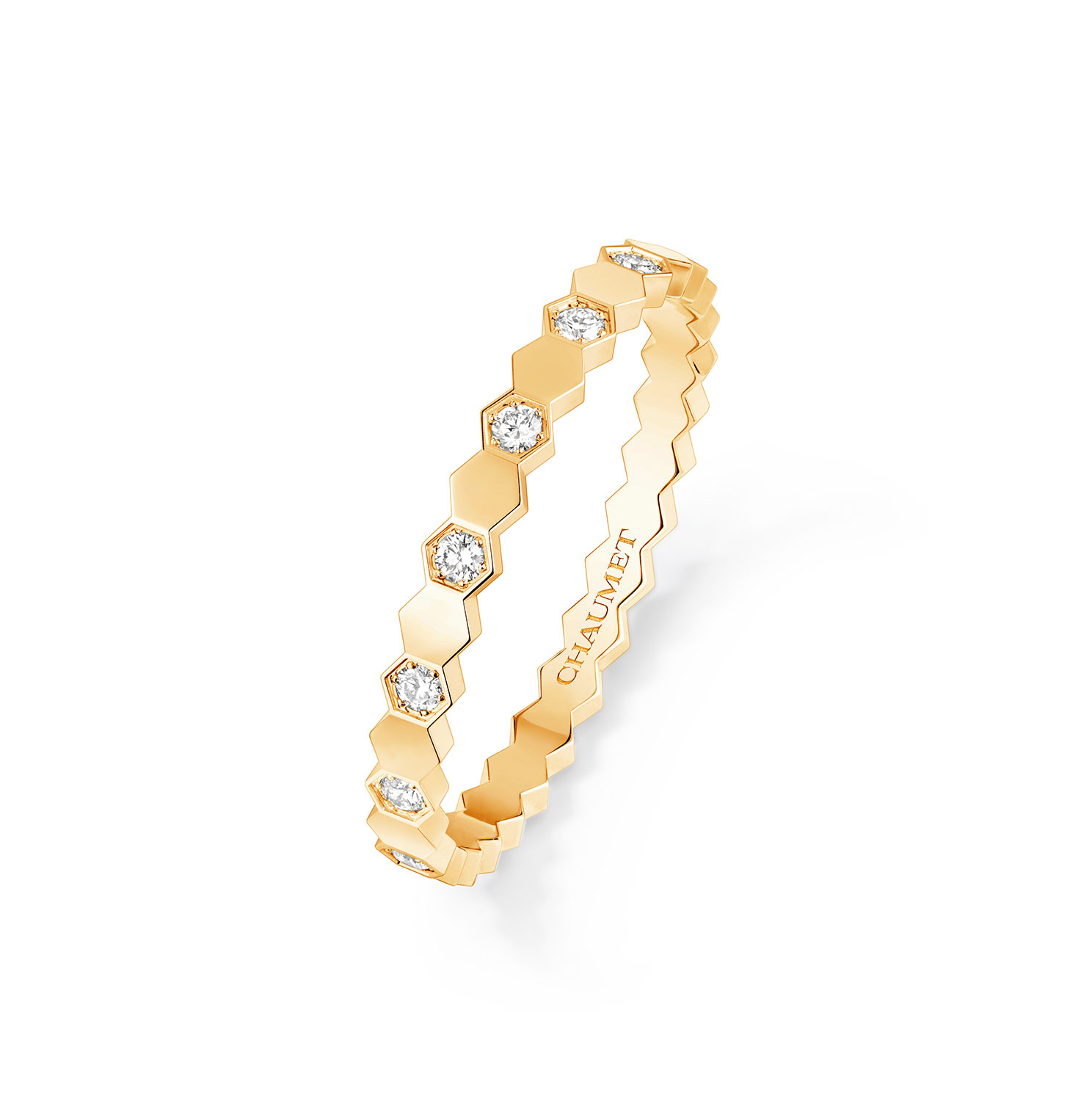 RING BEE MY LOVE YELLOW GOLD HALF PAVED DIA
