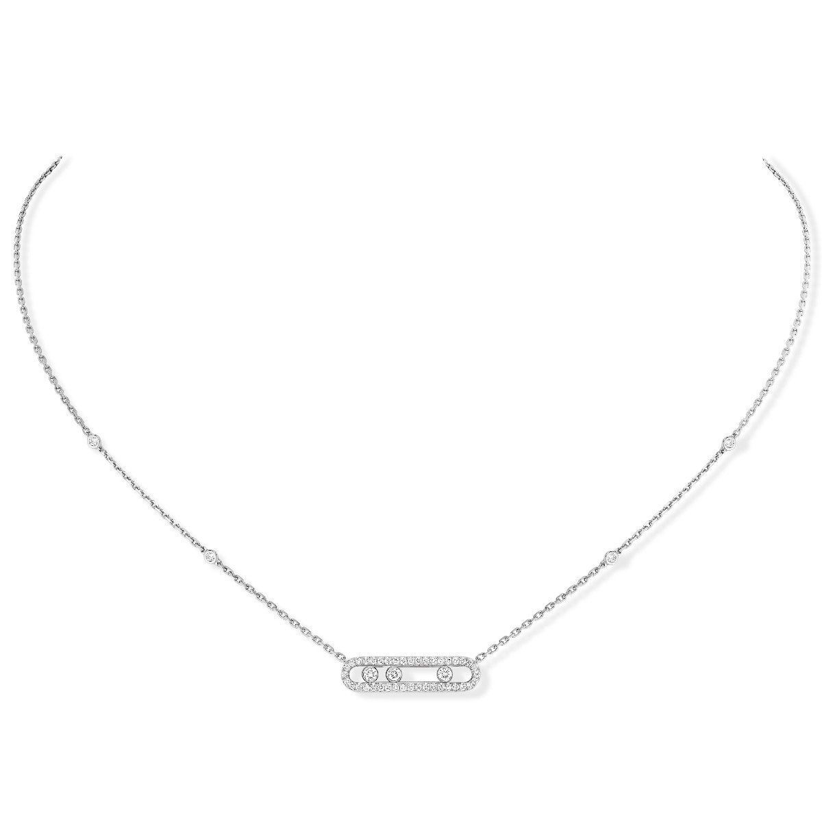 Baby move pavé necklace white gold