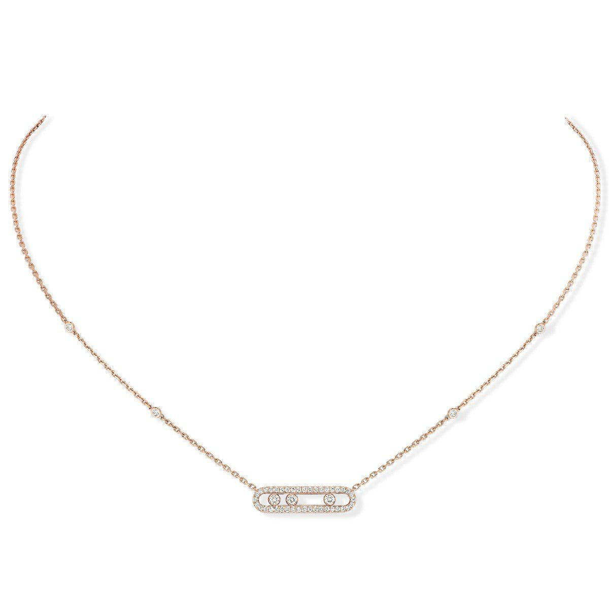 Baby Move Pavé Necklace Pink Gold
