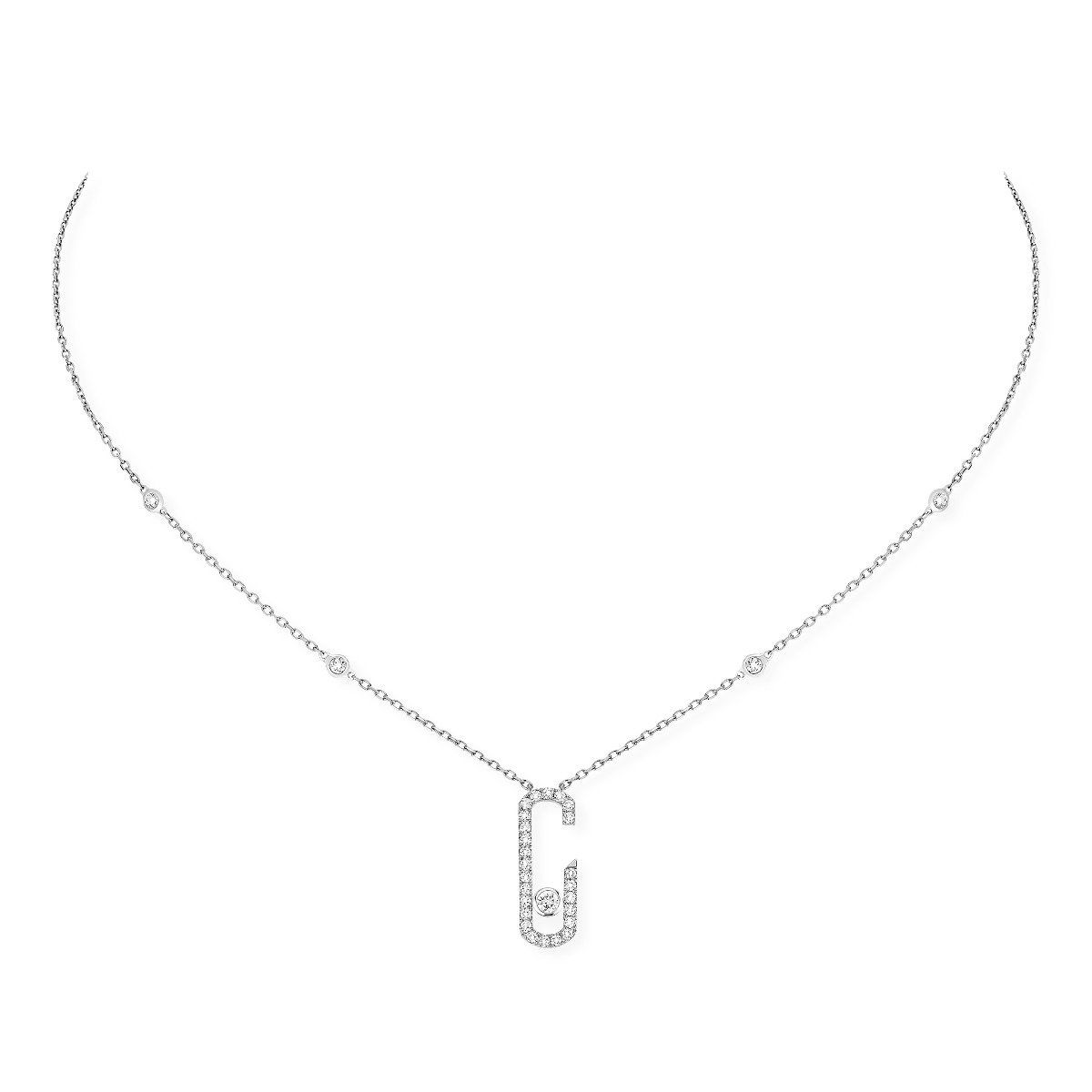 Move Addiction Pavé Necklace - White Gold