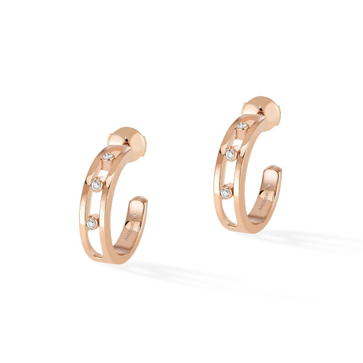 Move Hoop Earrings Pink Gold