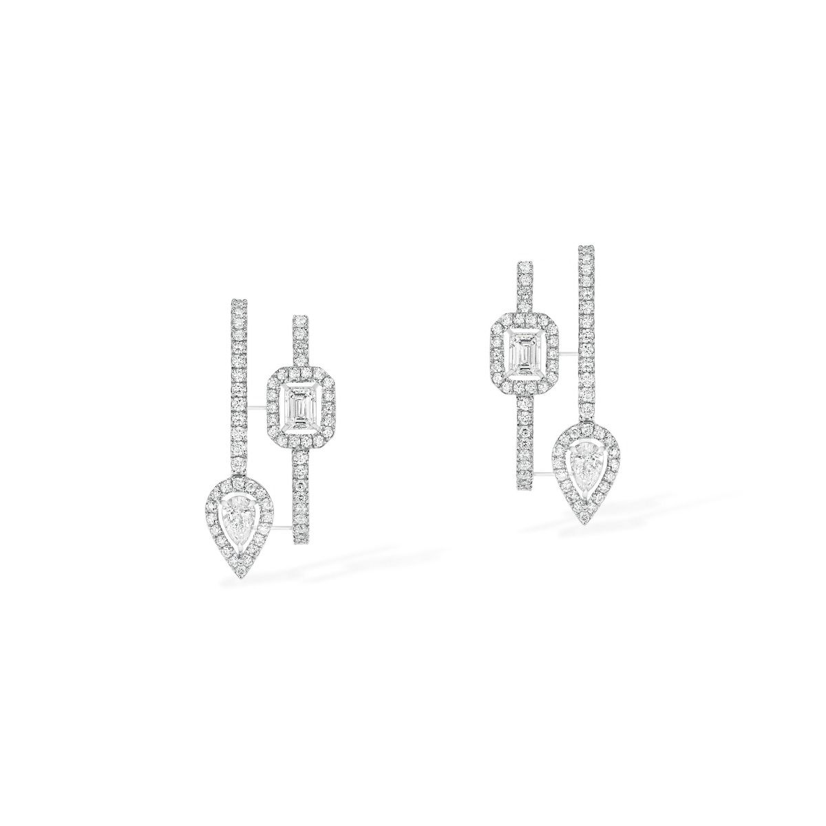 My Twin Hoops 2 Rows 2X0,10Ct Earrings - White Gold