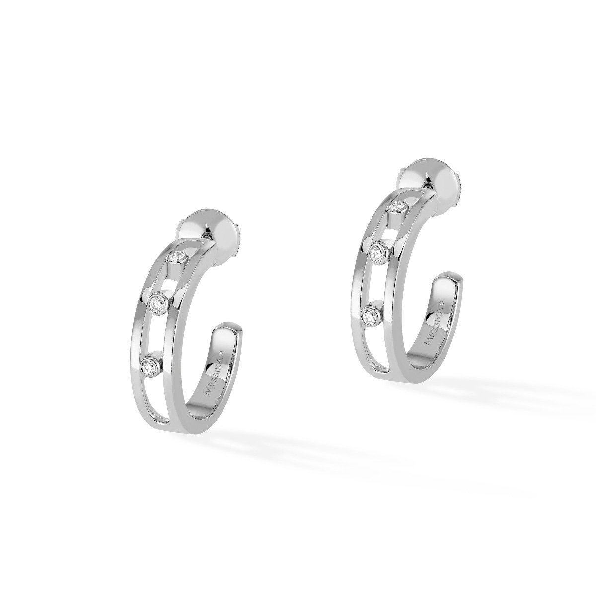 Move Hoop Earrings White Gold
