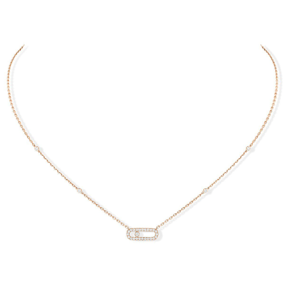 Move Uno Pavé Necklace - Pink Gold