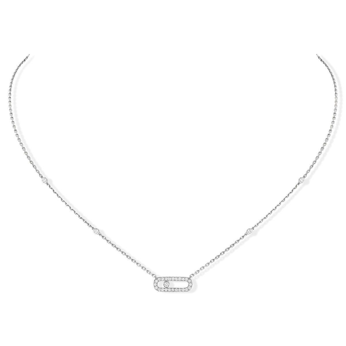 Move Uno Pavé Necklace - White Gold