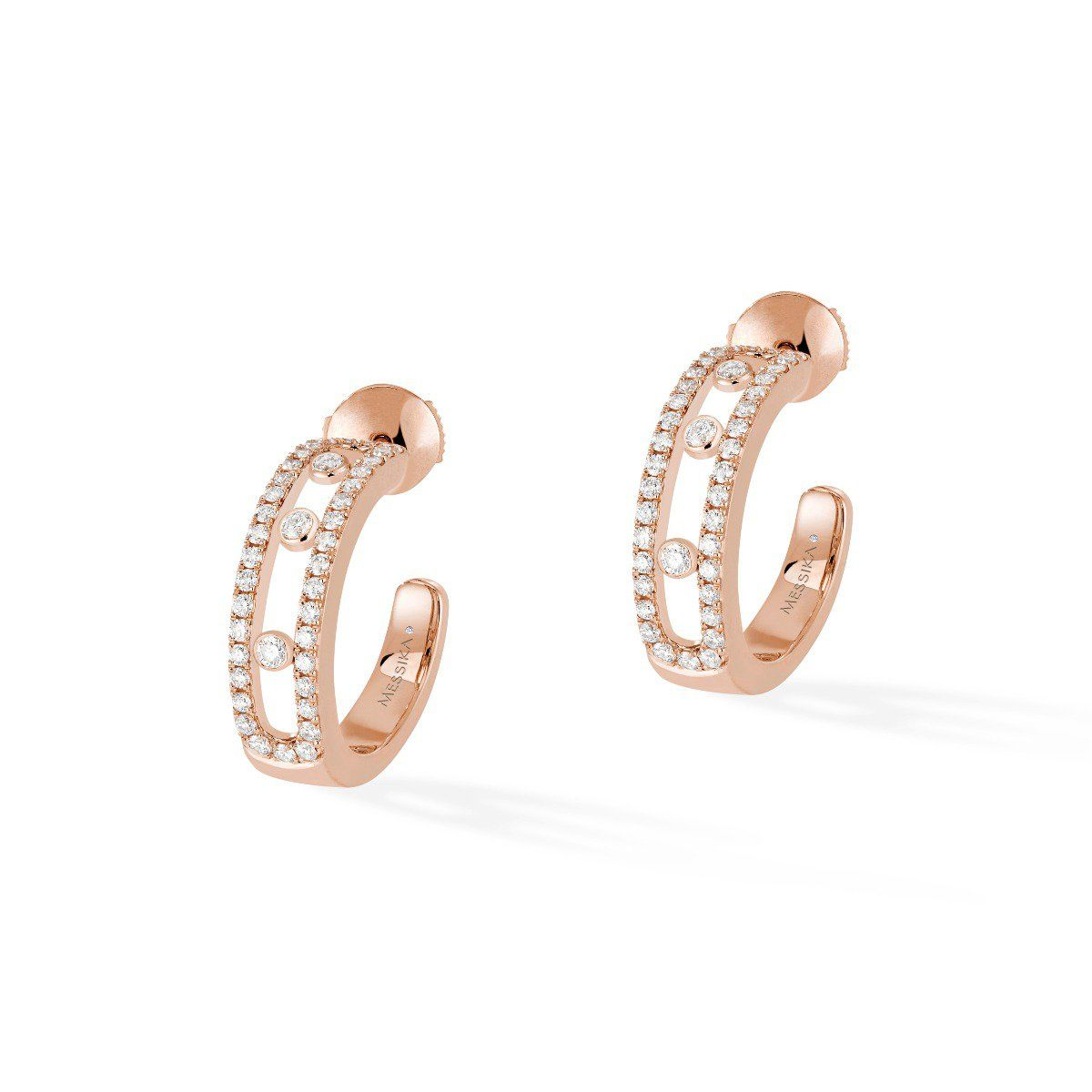 Move Pavé Hoop Earrings - Pink Gold