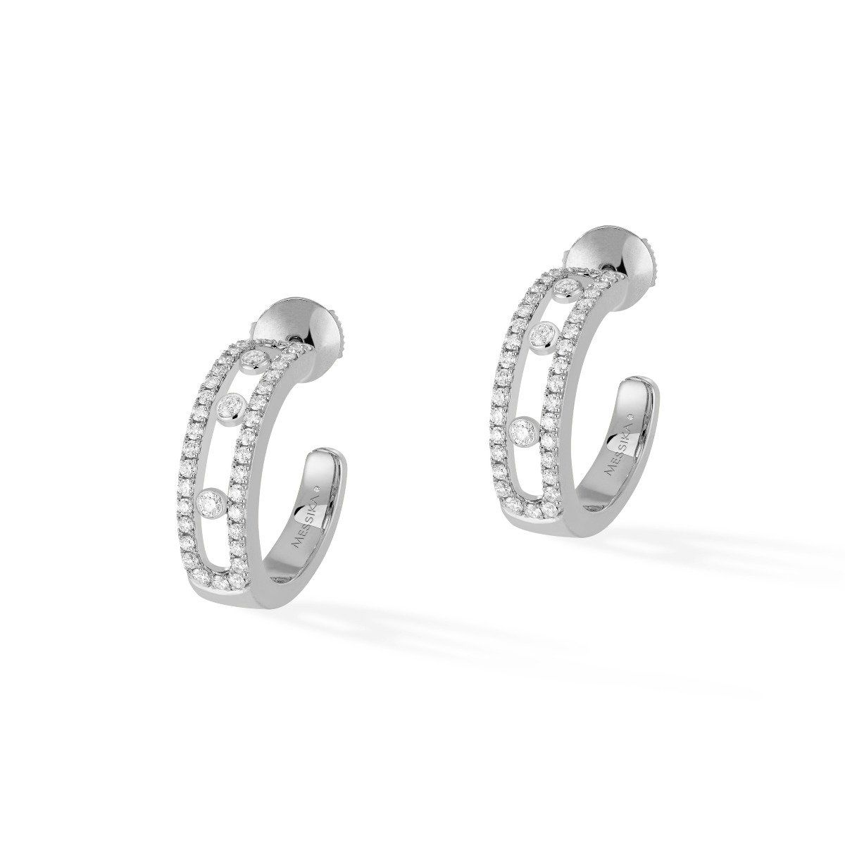 Move Pavé Hoop Earrings - White Gold