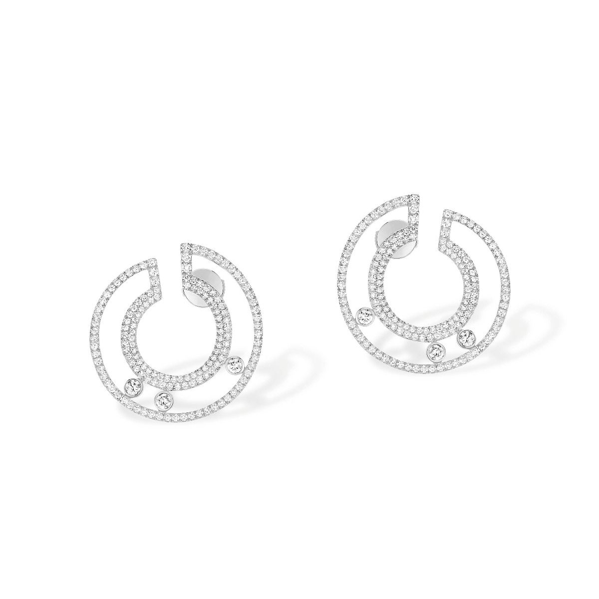 Move Romane Pavé Hoops Pm Earrings - White Gold