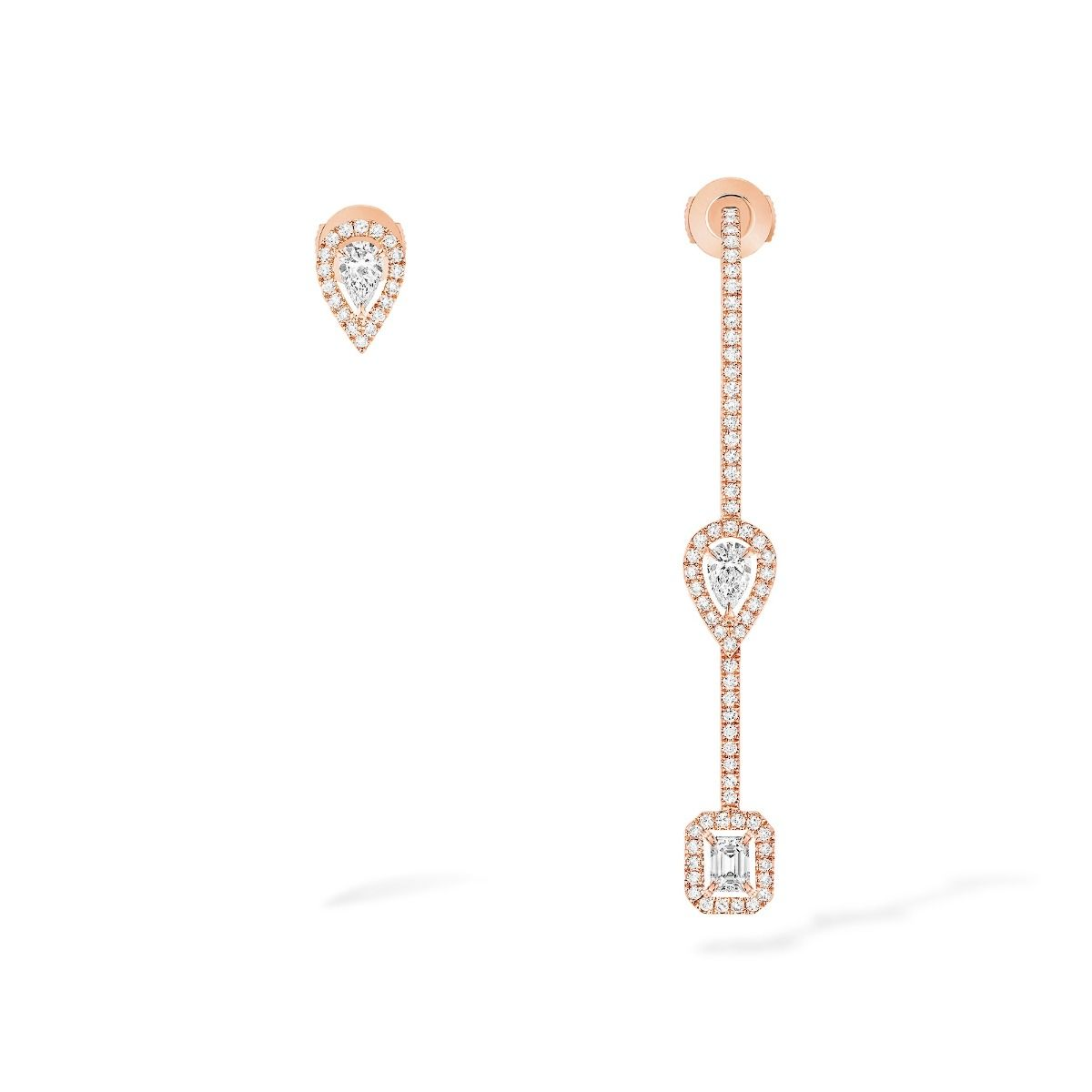 My Twin Hook And Stud Earrings 3X010Ct Earrings - Pink Gold