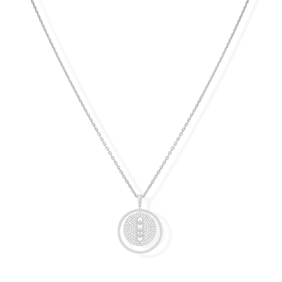 Lucky Move Mm Pavé Necklace - White Gold