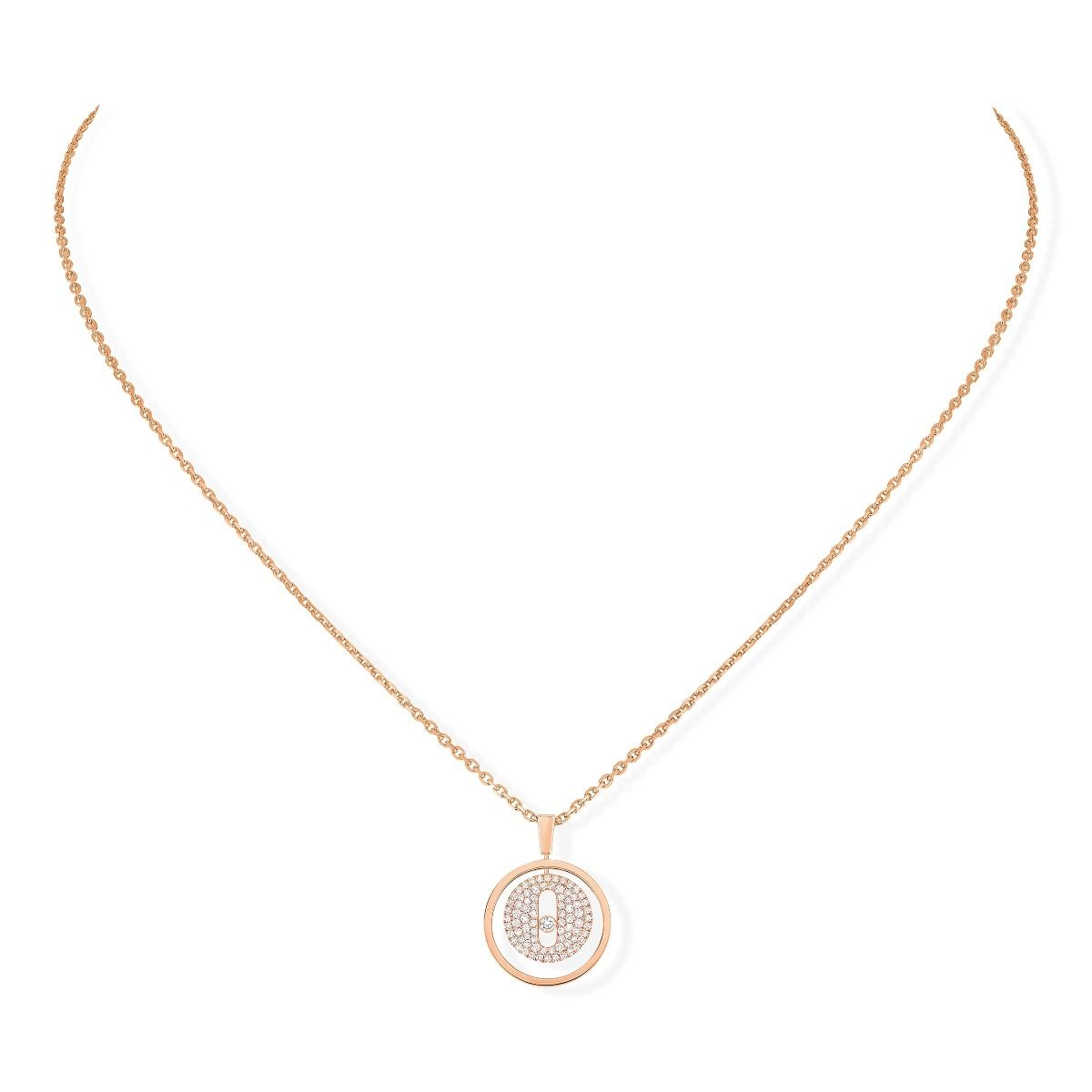 Lucky Move Pm Pavé Necklace - Pink Gold