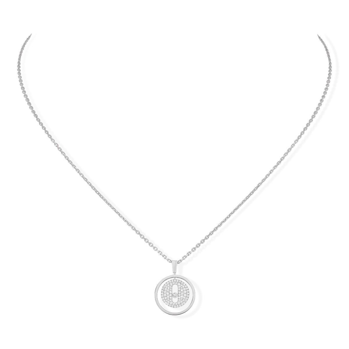 Lucky Move Pm Pavé Necklace - White Gold